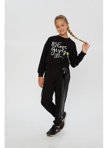 Little Star Little Star Kız Çocuk Love Gives Sweatshirt Siyah
